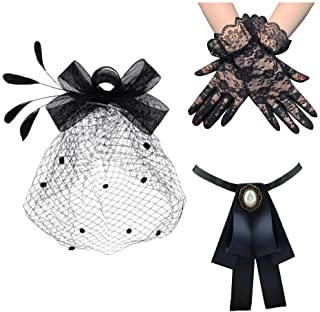 Cooyeah Fascinators Pillbox Hat Black Birdcage Veil Mesh Headband Bow Tie Short Lace Gloves for Tea Party Women, Medium