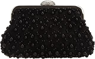 Bonjanvye Floret Pearl Clutch and Party Purses for Women Evening Clutches for Wedding