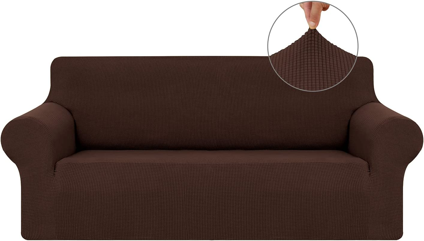Czufon Stretch Couch Cover Slipcover Spandex 1-Piece 2 Seater Sofa Cover Furniture Protector with Non Skid Foam and Elastic Bottom for Kids, Pets
