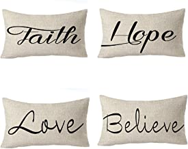 FELENIW Set of 4, Best Blessing Gift Faith Hope Love Believe Family Friend Gift Cotton Linen Decorative Throw Pillow Cover Cushion Case Lumbar 12x20 inches