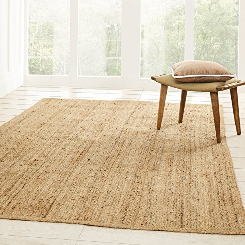 Superior Hand Woven Natural Fiber Reversible High Traffic Resistant Braided Jute Area Rug, 8' x 10' 10' Seagrass Area Rug
