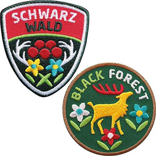 2er-Set Schwarzwald Abzeichen 60 mm gestickt / Black Forest Aufnäher Aufbügler Sticker Wappen Patches für Kleidung Mode Tracht Taschen Rucksack / Hirsch Geweih Hirschgeweih Bollen Naturpark