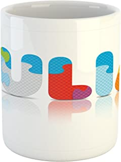 Ambesonne Julia Mug, Puzzle Style Colorful Letters Preschool Theme Girl Name with Roman Roots Print, Ceramic Coffee Mug Cup for Water Tea Drinks, 11 oz, Red Blue