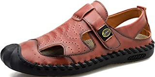 GILKUO Sandals Men Leather Spring Summer Closed Toe Outdoor Sandals