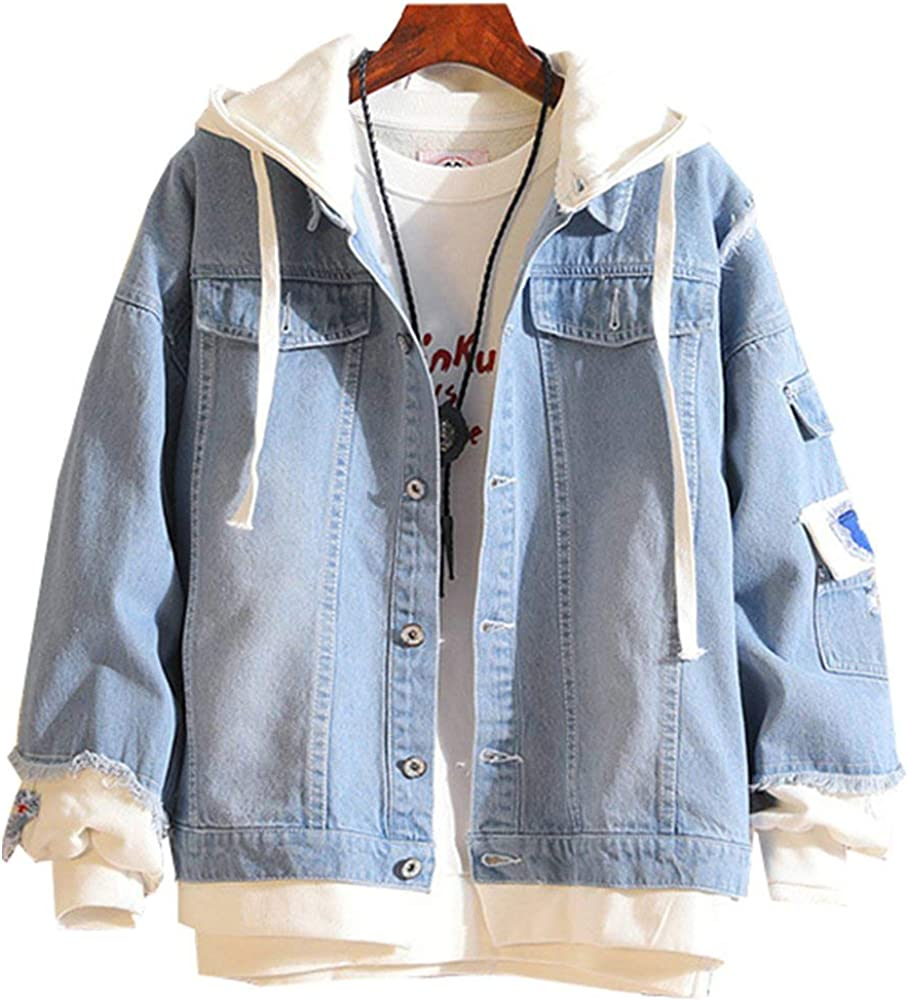 90s Outfits for Guys | Trendy, Party, Cool, Casaul LifeHe Men Denim Jacket With Hoodie With Patches Oversized  AT vintagedancer.com