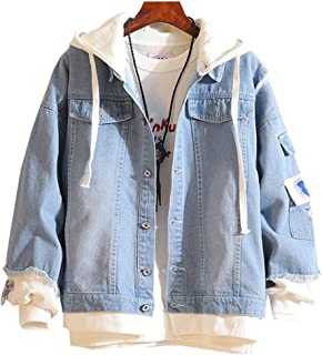 Men Denim Jacket with Hoodie with Patches Oversized