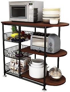 DUDDP rangement cuisine Organisateur Support de rangement tablettes de rangement Porte-bagages, micro-ondes rack de cuisin...