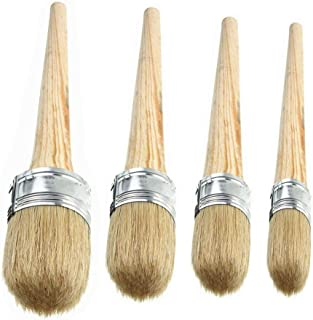 4 PCS Chalk Paint Wax Brush Set - Natural Bristle Round Wax Brush for Painting or Waxing Furniture Home Décor