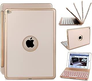 New iPad 2018 Keyboard Case, iEGrow New F8S 7 Colors LED Backlit iPad 6th Generation Keyboard with Protective Case Cover for New iPad 9.7/ iPad 5th Generation/iPad Air(Gold)