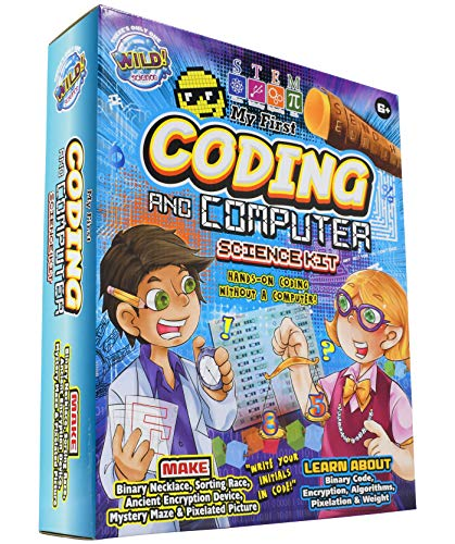 WILD! Science My First Coding and Computer Science Kit - Ages 6+ - Teach Kid-Friendly Coding, Encryption, Pixelation, Algorithm and Data Sorting Concepts Without a Computer or App