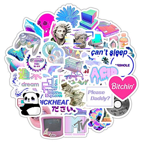 TTBH Vaporwave Art Style Sticker for Laptop Computer Skateboard Luggage Refrigerator Notebook Helmet Toy Cartoon Stickers 50Pcs