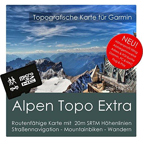 Alpen Garmin Karte TOPO EXTRA - 8GB microSD. (Deutschland Schweiz Italien Österreich Frankreich) GPS Freizeitkarte Fahrrad Wandern Touren Geocaching Outdoor. Navigationsgeräte PC & MAC