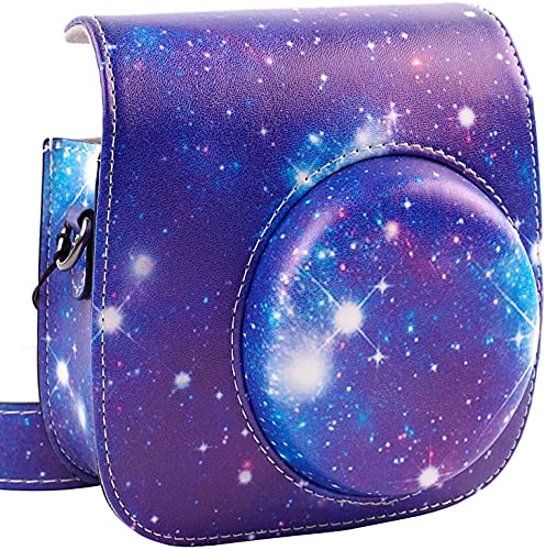 Protective & Portable Case Compatible with Fujifilm Instax Mini 11/9 / 8/8+ Instant Polaroid Film Camera with Accessory Pocket and Adjustable Strap - Galaxy by SAIKA