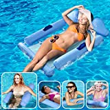 Inflatable Pool Float Hammock, 4-in-1 Inflatable Pool Floats for Adults Kids, Multi-Purpose Pool Hammock (Saddle, Lounge Chair, Hammock, Drifter) Pool Toys, Beach Chair, Portable Water Hammock/Lounger