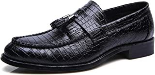 Men's Business Oxford Fooling Classical Soft Pointed Toe Snakeskin Fringe With One Foot Pedal Formal Shoes casual shoes (Color : Black, Size : 42 EU)
