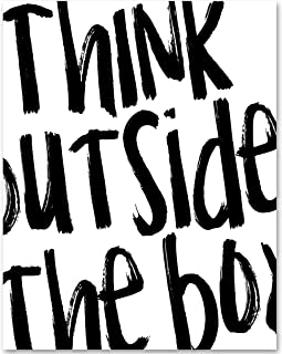 Think Outside the Box - 11x14 Unframed Typography Art Print - Makes a Great Inspirational Gift Under $15
