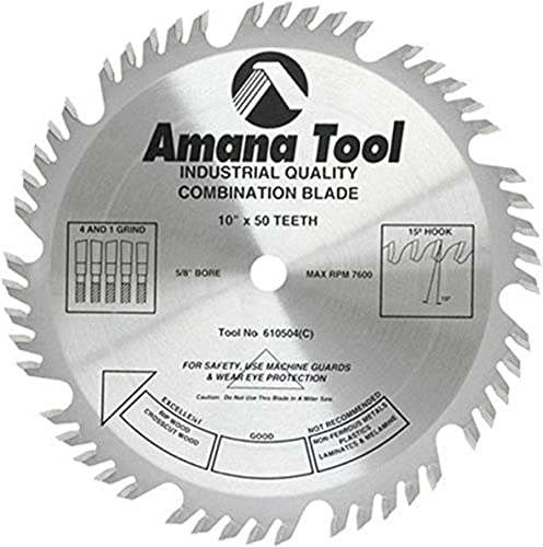 """discount Amana Tool - (610504) Carbide Tipped Combination online sale Ripping & online Crosscut 10"""" Dia x 50T 4+1, 15 Deg, 5/8 Bore online"""
