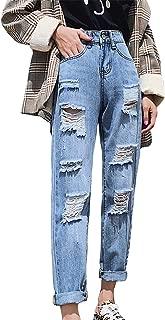 Moli&Hani ジーンズ レディース ブルー デニム ボーイズデニム ジーンズ デニム パンツ ダメージ ボトムスデニムパンツ ブルー ズボン