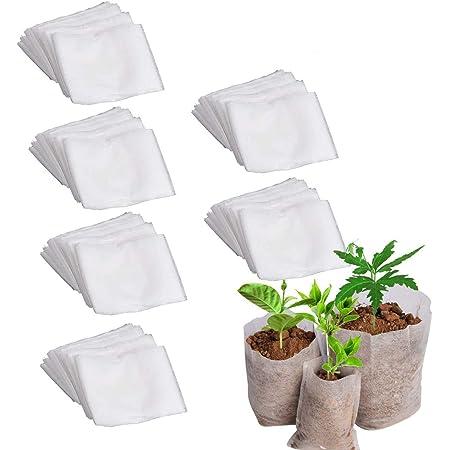 400Pc 4 Size Nursery Pots Plant Grow Pouch Seedling Raising Bags Garden Supplies