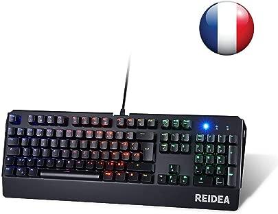reidea Mechanische Gaming-Tastatur AZERTY kabelgebunden USB mit Hintergrundbeleuchtung RGB voll programmierbar Switches rote und 104 nbsp Tasten anti-ghosting KM06 schwarz Schätzpreis : 38,90 €