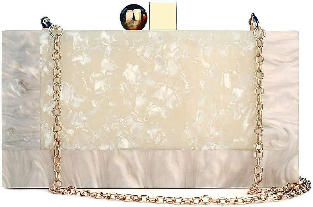 Black and White Purse Acrylic Clutch Evening Handbags Crossbody Bags for Women