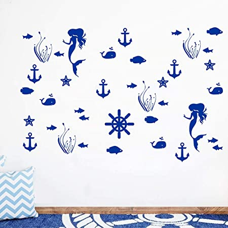 Juekui Ocean Sea Life Marine Organisms Wall Decal Sticker Sea World Theme Decoration Mermaid Anchor Removable Vinyl Set Of 40 Ws32 King Blue Baby