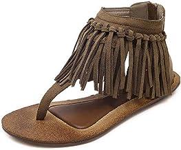 Women Casual Summer Clip Toe Sandals Vintage Tassel Zipper Slip On Fringe Cozy Fashion Flat Sandal Shoes
