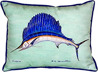 "Betsy Drake SN006C Sailfish - Teal Pillow, 11"" x14"""