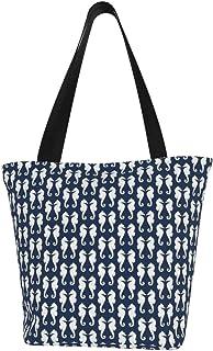 Einkaufstaschen, weiße Seepferdchen auf marineblauem Segeltuch, Schultertasche, wiederverwendbare faltbare Reisetasche, groß und langlebig, robuste Einkaufstaschen