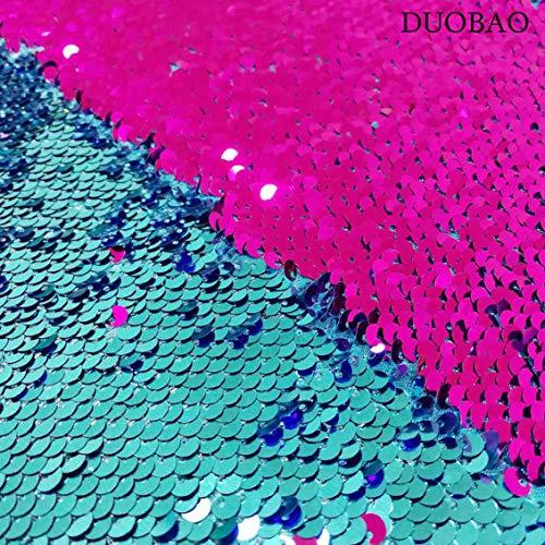 Duobao Nähstoff von The Yard schwarz zu weiß wechselnde Farbe Stoff Wende-Paillettenstoff für Hochzeitskleid, wendbar, Pailletten-Stoff, Turquoise to Fuchsia, 1 yard