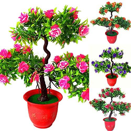 XdiseD9Xsmao Kunstbloem met bladeren, roze, Gastenhandbloem met groen grenenhout, vaas, huis, tuin, bureau, decoratie