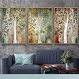 Árbol de la vida, póster de paisaje, arte de pared, lienzo escandinavo, pintura abstracta de árboles dorados, imágenes para la decoración del hogar de la sala de estar | 50x70cmx3 | sin marco