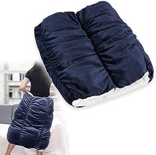 EMME 着れる ロールクッション 着る毛布 3連 連結可能 もぐる あったか クッション 冬用 ひざ掛け毛布 中綿入り ごろ寝マット大人用 子供用 犬猫べット ペットクッション ふわもこ 防寒 温度調節 全周ファスナー 付き 洗える Mサイズ ネイビー