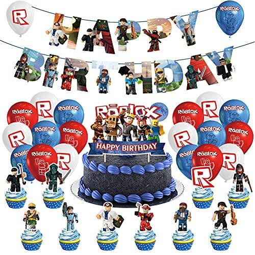 Decoracion Cumpleaños Roblox Globos, Roblox Theme Party Supplies Roblox Globos Decoraciones Cake Topper para Fiestas Decoraciones para Niñas Pequeñas, Niños y Mujeres