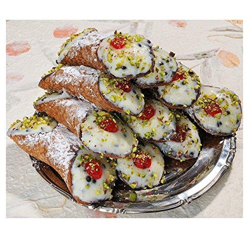 8 Cannoli Siciliani con pura ricotta di pecora con pistacchi - Spedizione 24h