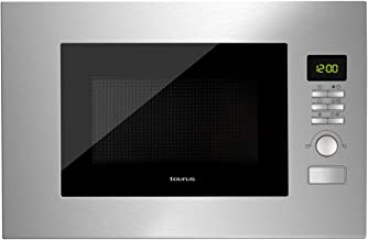 Taurus Fastwave Fused Microondas digital integrable, encastre con Grill, 800W, 900W, 20L, ModoECO, Auto-Clean, Varias funciones y programas, Revestimiento Shiny&Clean, SmartHeat 455x342x26mm, Inox
