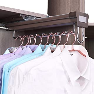 Pull Out Clothes Hanger Rail Sliding Rail with Damper Extendable Organizer Rack for Wardrobe-18inch