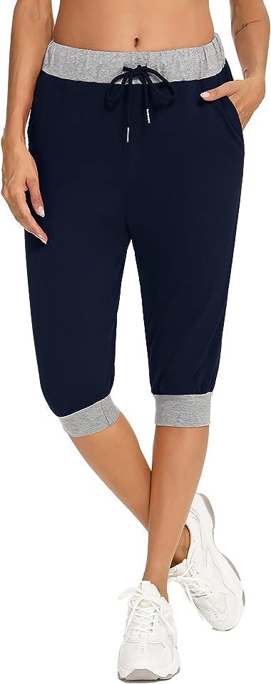 Damen Jogginghose 3/4 Baumwolle Caprihose, Damen Sweathose Freizeithosen Sporthose Sommerhose Yogahose mit Elastischem Bund und Tasche