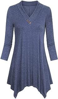 Sunhusing Women's Solid Cropped Sleeve Button Irregular Hem Shirt Casual Flare Tunic Blouse