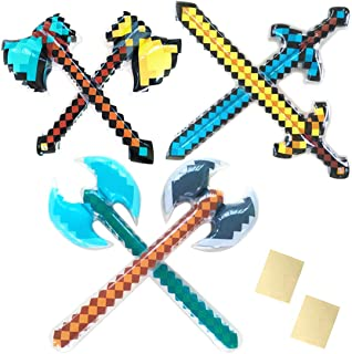 Inflatable Pretend Play Pirate Mine Pixel Craft Swords Axe for Boys Halloween Party Supplies Set of 6