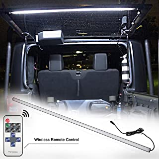 Led Rear Glass Lift Gate Dome Light Bar for Jeep Wrangler 2007-2018 - JK JKU,2018-2019 JL JUL, Rear Cargo Dome Light Led Liftgate Dome Light Bar,Lighting Adjustable with Remote and DC Connector