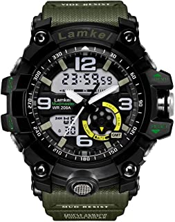 Lamkei LAM-1330 Black Dial Green Shock Strap Analogue Digital Multifunction Watch for Men
