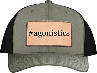 One Legging it Around #Agonistics - Leather Hashtag Light Brown Patch Engraved Trucker Hat