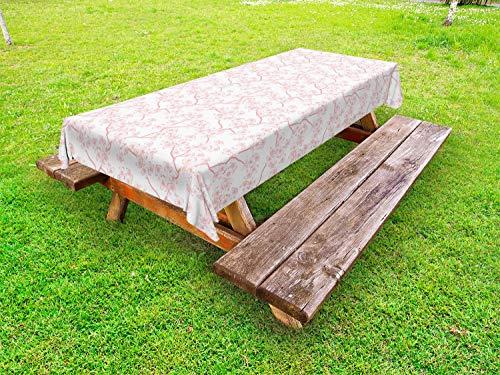 ABAKUHAUS La Nature Nappe Extérieure, Printemps Cerise Flourish, Nappe de Table de Pique-Nique Lavable et Décorative, 145 cm x 265 cm, Corail Blanc