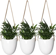 YXMYH Modern White Ceramic Hanging Planter Succulent Air Plant Flower Pot Wall Decor, Set of 3