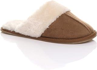 Womens Ladies Flat Winter Faux Sheepskin Fur Lined Slip on Memory Foam Mules Slippers Shoes Size.