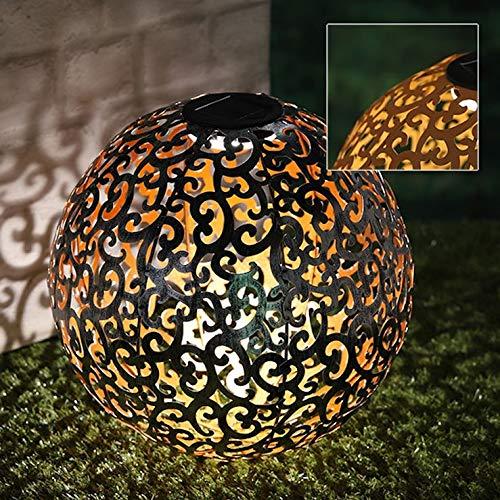 Metall Dekokugel 28,5 cm - Solar/beleuchtet - Solarkugel warmweiß in Rost Optik
