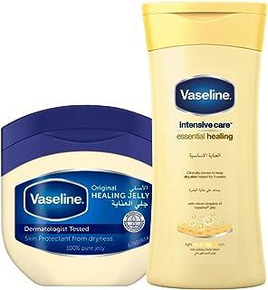 Vaseline Petroleum Jelly Original 250 ml With Vaseline Body Lotion Essential Healing, 200 ml