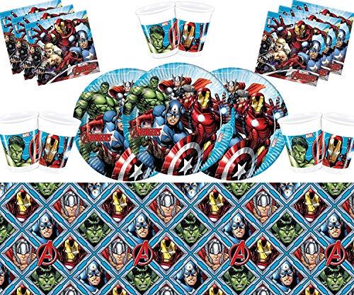 Marvel Avengers Montieren Partei Geschirr Teller Tassen Servietten Tischdecke Kostenlose Luftballons Messing Bilderrahmen-16 Gäste