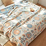 Scientific Sleep Floral Boho Gypsy Reversible 100% Cotton Muslin Blanket Throw Cover for Bed, Couch & Sofa, Cozy Soft Lightweight Warm Bedspread Coverlet (7, Twin 59' X 78')